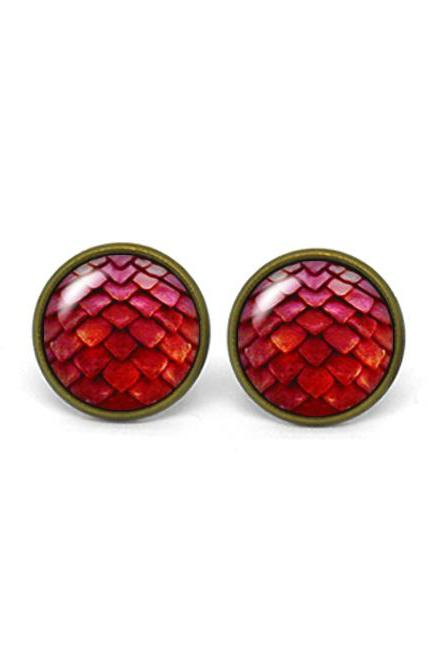 X309- Dragon Egg, Game of Thrones, Glass Dome Post Earrings
