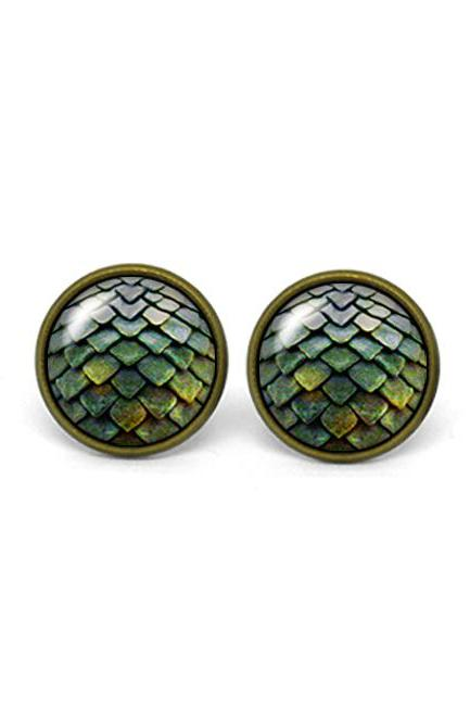 X310- Dragon Egg, Game of Thrones, Glass Dome Post Earrings