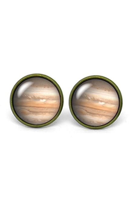 X235- Jupiter, Astronomy, Glass Dome Post Earrings