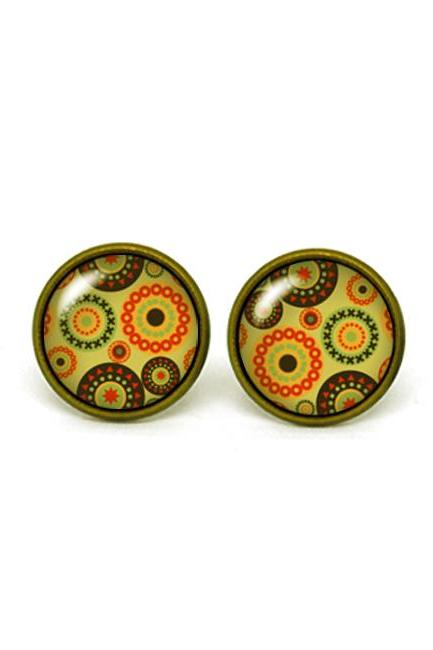 X219- Circle Pattern, Retro, Vintage Style, Glass Dome Post Earrings, Handmade