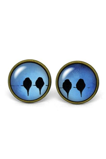 X341- Bird on the Wire, Glass Dome Post Earrings, Handmade