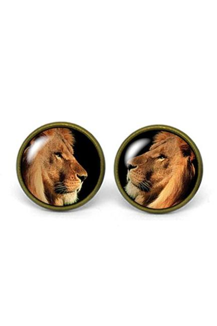 X476- Lion, Glass Dome Post Earrings