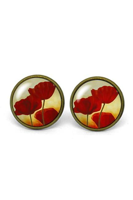 X746- Red Poppy Flower, Glass Dome Post Earrings